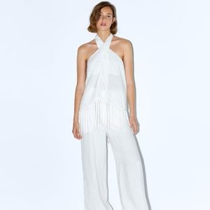 ZARA 100% LINEN WHITE TOP WITH FRINGING